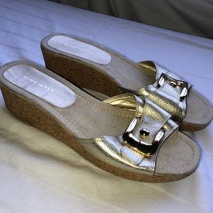 Nine West gold wedge sandals with gold buckle